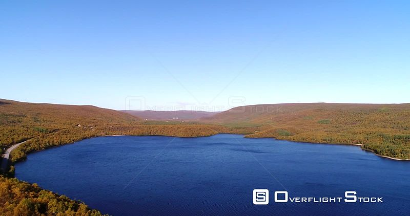 Arctic Church, Aerial Pan View of Mountains and Mantojarvi Lake , in Autumn Colors Lapland, on a Sunny Autumn Day, in Lappi, Finland