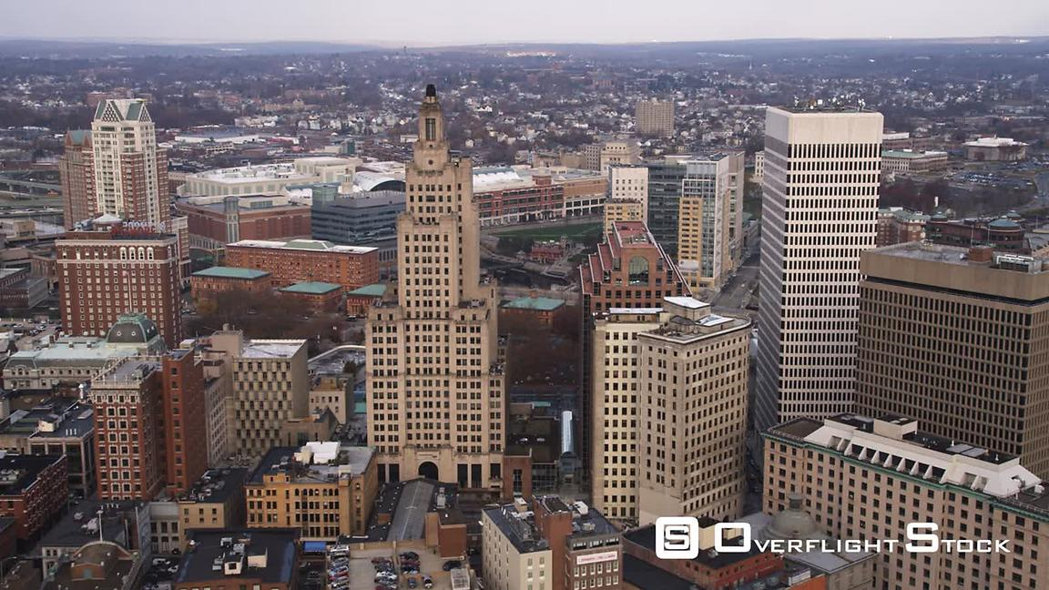 Aerial Approach and Flyover of Providence, Ri.