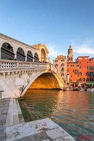Rialto bridge at sunset, low angle view, Venice