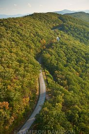 Aerial photogrpah of the Blue Ridge Parkway and Blue Ridge Mountains