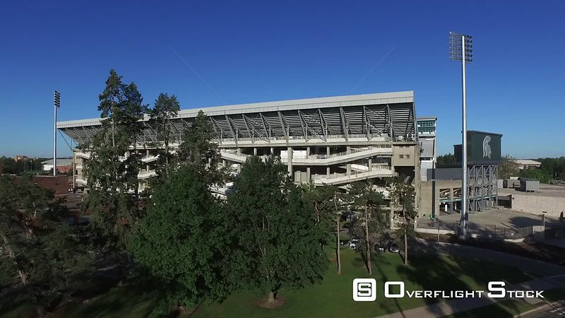 Drone Video of Michigan State University at East Lansing. Spartan Stadium.