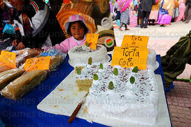 Stall selling cakes made from coca leaf flour at trade fair promoting alternative products made from coca leaves , La Paz , Bolivia
