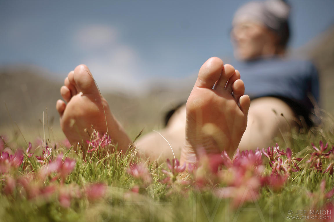 Woman bare feet in flower field