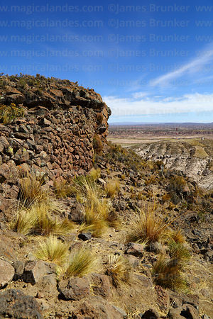Stone wall of Carangas period fortress on summit of Cerro Monterani hill, near Curahuara de Carangas, Oruro Department, Bolivia