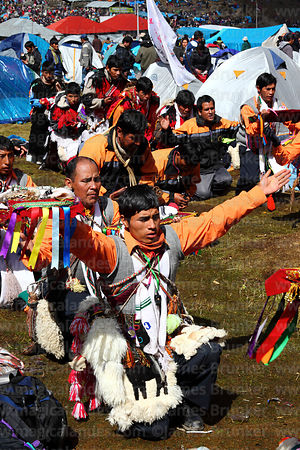 Dancers in camp during final mass of Qoyllur Riti festival , Peru