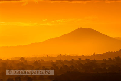 The Wrekin at sunrise, Shropshire, England.