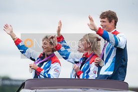 Zara Phillips, Mary King, William Fox-Pitt and Nicola Wilson -  Olympic equestrian silver medallists at Land Rover Burghley Horse Trials, 2nd September 2012.