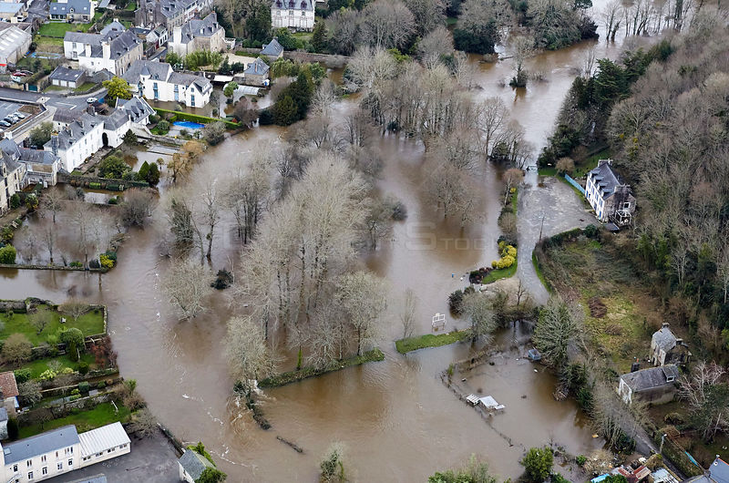Aerial view of a flooded town, Finistere, France, February 2014.