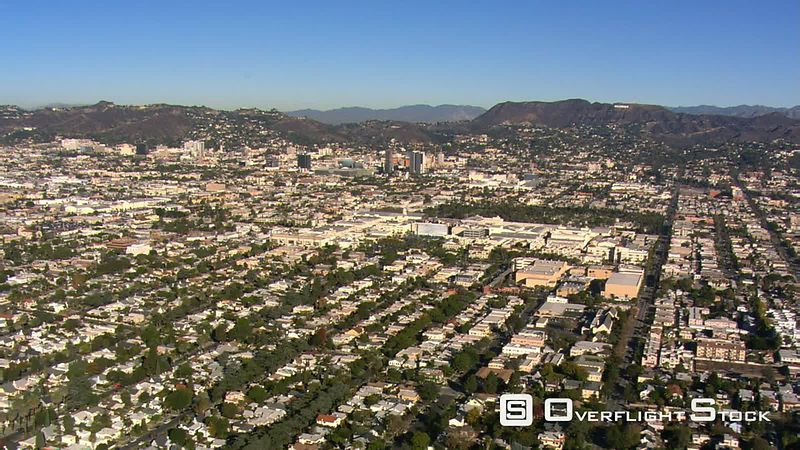 High, wide view from flight approaching Hollywood.