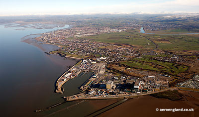 aerial photograph of Heysham Port & Nuclear Power Station Lancs England UK