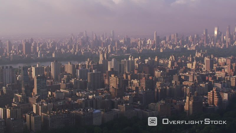 New York City Aerial view of Manhattan buildings and Central Park in beautiful morning light.   Shot with Cineflex and RED EpicW Helium.