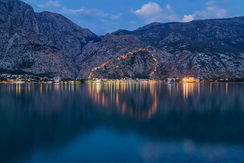 View of the City of Kotor Across Kotor Bay at Dusk