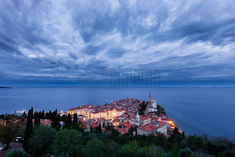 Elevated View of the Piran Old Town with St George's Cathedral at Dawn