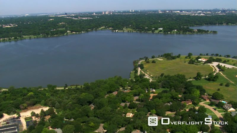 Flying over White Rock Lake in Dallas, Texas