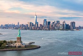 Aerial of the Statue of Liberty and Manhattan skyline, New York, USA