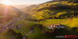 Aerial panorama of Funes valley at sunset Dolomites, Italy