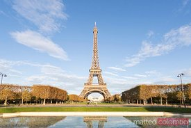 Classic Eiffel tower view with blue sky, Paris, France
