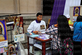 Official souvenir stall of Señor de los Milagros brotherhood outside Las Nazarenas church, Lima, Peru