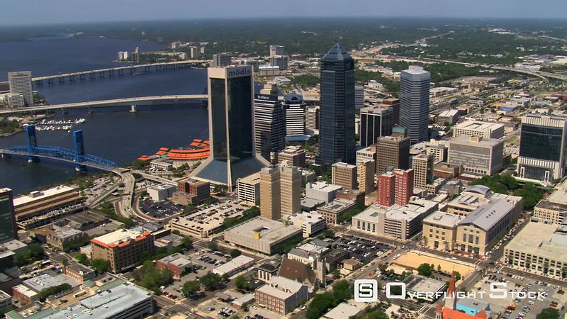 Aerial orbit of downtown Jacksonville, Florida.