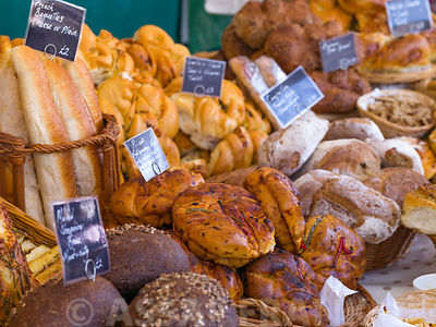 Breads in market stall