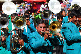 Marching brass band during parades for Gran Poder festival, La Paz, Bolivia