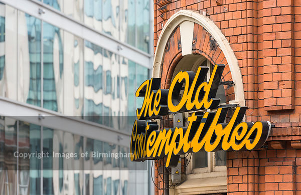 The Old Contemptibles pub, Birmingham City Centre with Interchange Place in the background. Colmore Business District, Birmingham, England