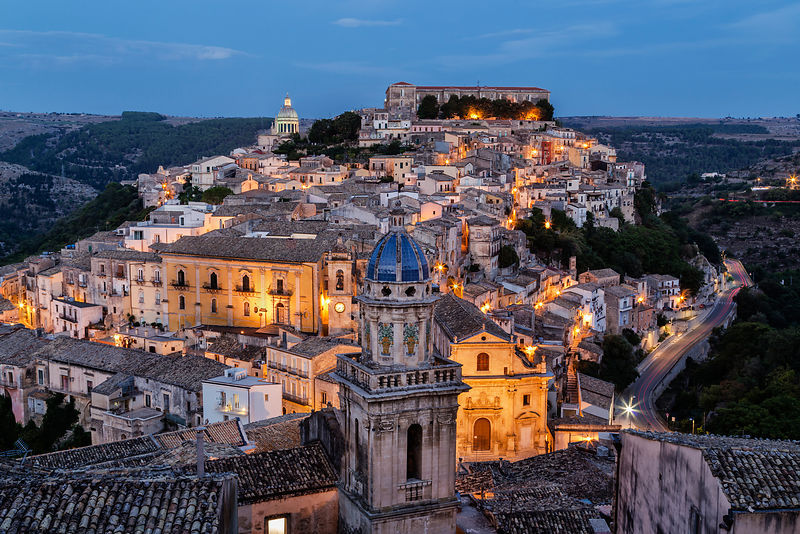 Elevated View of Ragusa at Dusk
