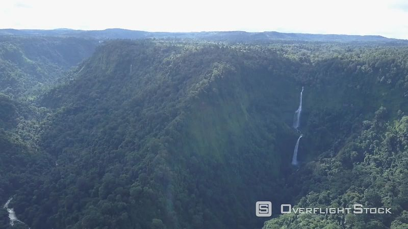 Boloven plateau and the Tad Fane falls, filmed by drone, Champassak Province, Laos