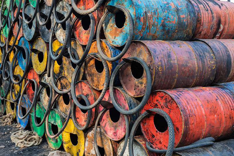 Oil Drums Ready to be Recycled