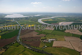 River Severn high level wide angle aerial photograph of the Gloucester and Sharpness canal showing the meandering course of the River Severn