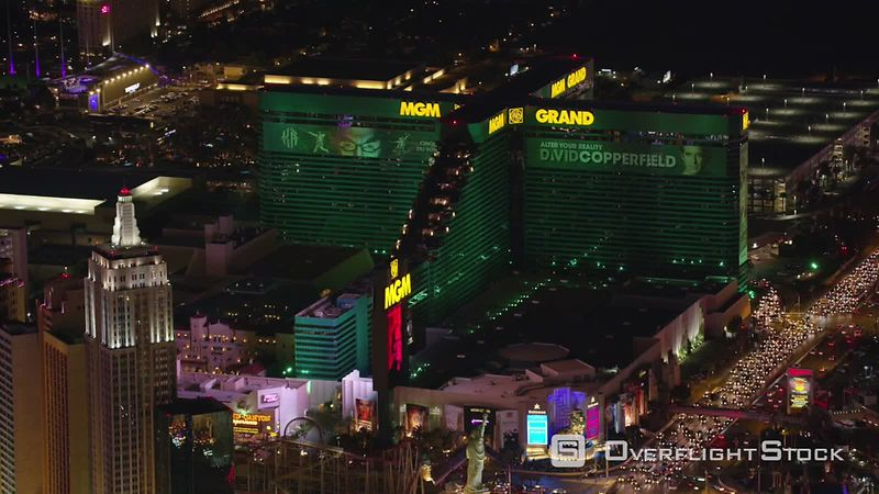 Las Vegas, Nevada Aerial view of the MGM Grand hotel and casino.  Shot with Cineflex and RED EpicW Helium.