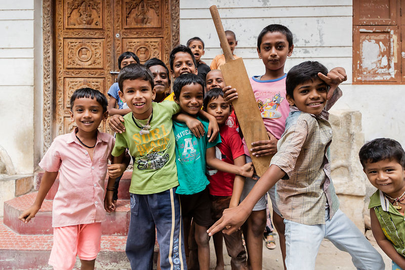 Portrait of a Group of Kids Posing in the Street