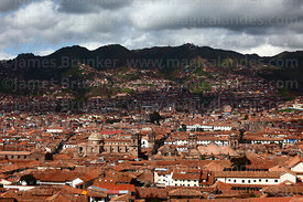 View of historic centre and churches, Cusco, Peru