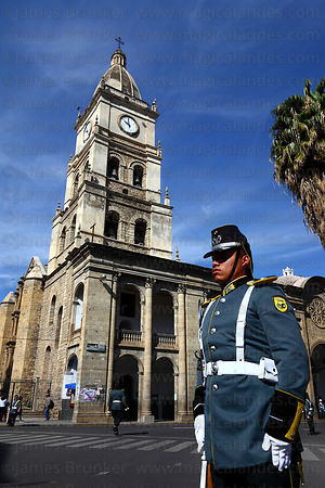 Guard in front of cathedral during Independence Day ( 6 August ) celebrations , Cochabamba , Bolivia