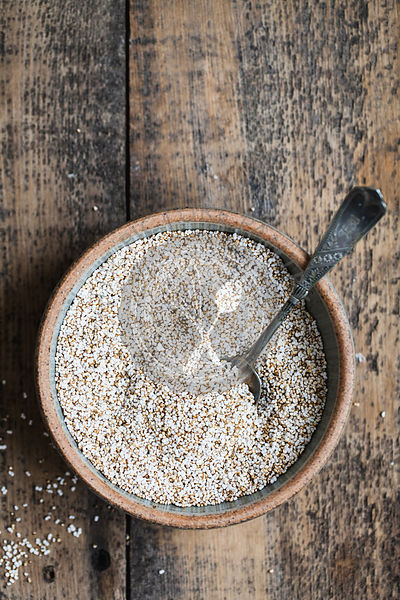 puffed quinoa in bowl with spoon