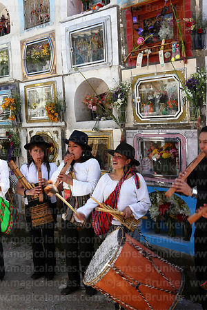 Tarqueada musicians playing for souls of the deceased in cemetery during Todos Santos festival, La Paz, Bolivia
