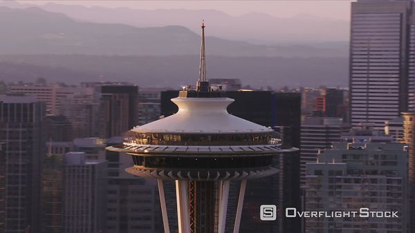 Seattle, Washington Closeup aerial view of Space Needle and city buildings.  Shot with Cineflex and RED EpicW Helium.