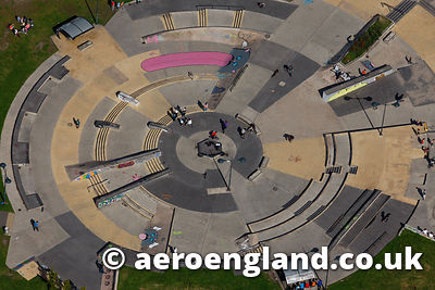 aerial photograph of skatepark  in Central Forrest Park,Stoke  Staffordshire England UK