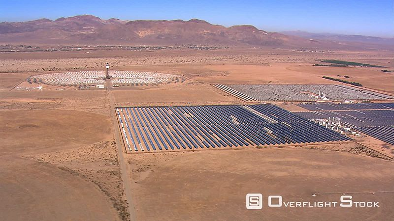 Wide aerial view of solar power plant