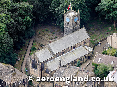 aerial photograph of Howarth Church Yorkshire England UK, last resting place of the Bronte sisters