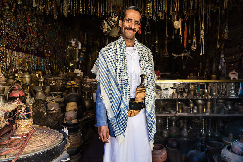 Yemeni Store Keeper Wearing Traditional Jambiya