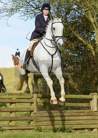 Monica Tebbut-Wheat jumping a hunt jump at Burrough House - The Cottesmore at Somerby 5/11
