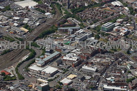 Preston aerial photograph of Corporation Street looking toward the University of Central Lancashire