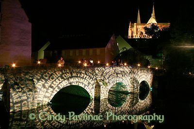 Bridge of Poems leads to Chartres Cathedral