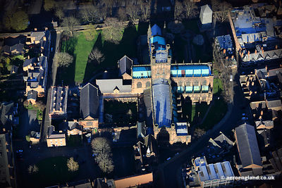 aerial photograph of Chester Cathedral  , Chester , Cheshire England UK..