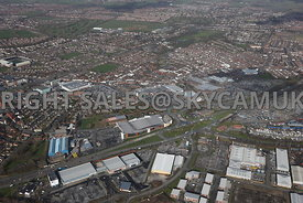 Widnes high level aerial photograph looking across Earle Rd towards the Ashley retail park and Ashley Way towards the town centre