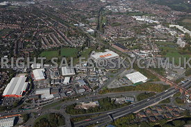 Stockport aerial photograph looking across the M60 motorway junction 1 Travis Brow B&Q and Decathlon and the surrounding industrial estate
