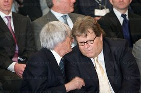 Bernie Ecclestone (GBR), Norbert Haug (GER), McLaren MP4-23 Launch, Stuttgart, 7th January, 2008