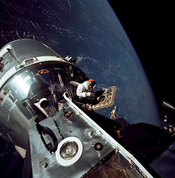 Gumdrop Meets Spider --  March 6, 1969 -- This image, taken on March 6, 1969, shows the Apollo 9 Command and Service Modules docked with the Lunar Module.