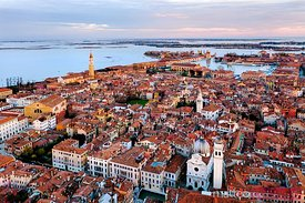 Aerial view of Venice at sunset; Veneto, Italy